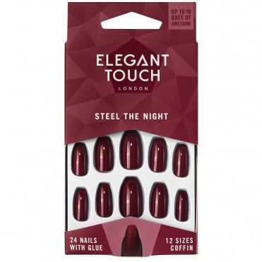 After Dark - Steel The Night False Nails + Glue + Buffer (24 Pack)