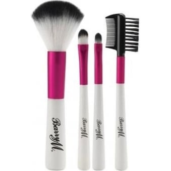 Pink and White Synthetic Complete Mini Brush Set of 4