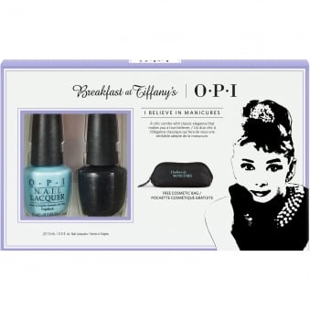 Breakfast At Tiffany's Nail Polish Collection 2016 - Believe In Manicures Duo Pack With Cosmetic Bag - 2 x 15ml (HRH28)