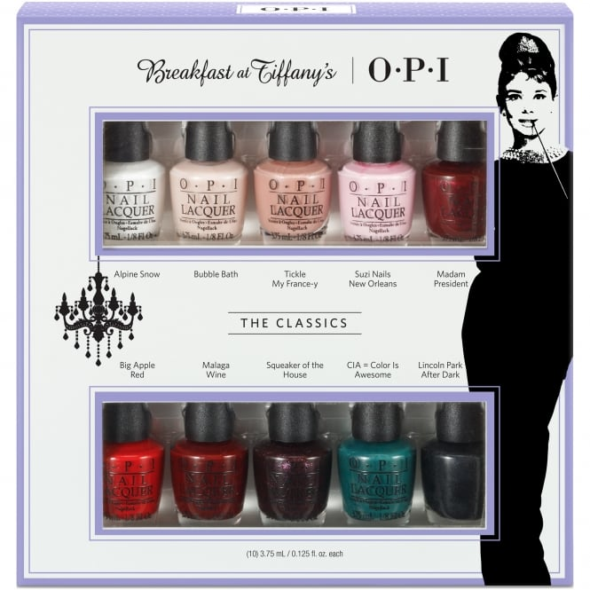 OPI Breakfast At Tiffany's Nail Polish Collection 2016 - The Classics Mini 10-Pack - 10 x 3.75ml (HRH26)