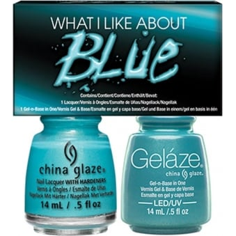 China Glaze Lite Brites 2016 Gel & Nail Lacquer Collection Set - What I Like About Blue Duo (2 X 14ML)