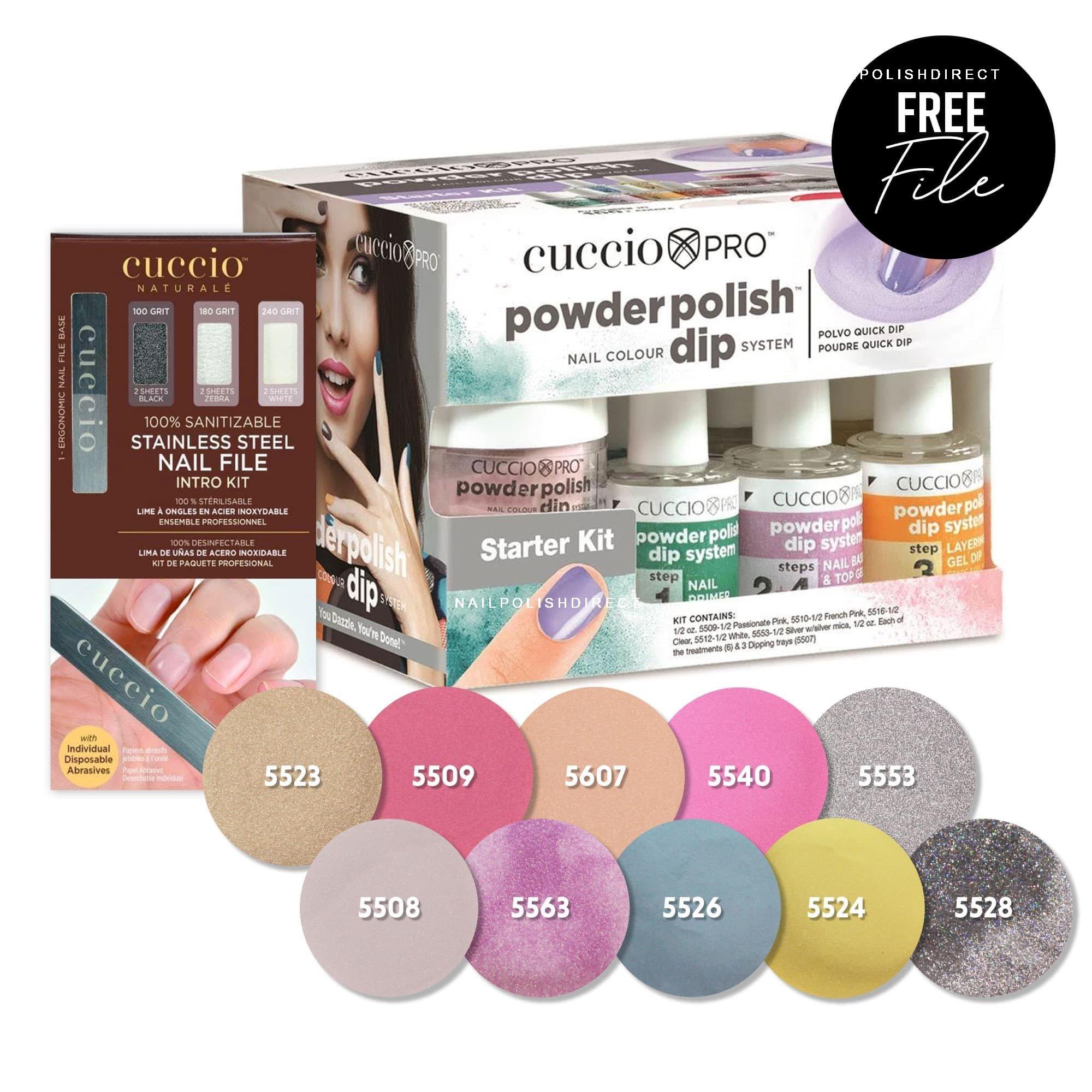 55cf002af5a Cuccio Cuccio Starter Kit For Powder Polish Dipping System   10 x Dip  Powders + Nail File Intro Kit
