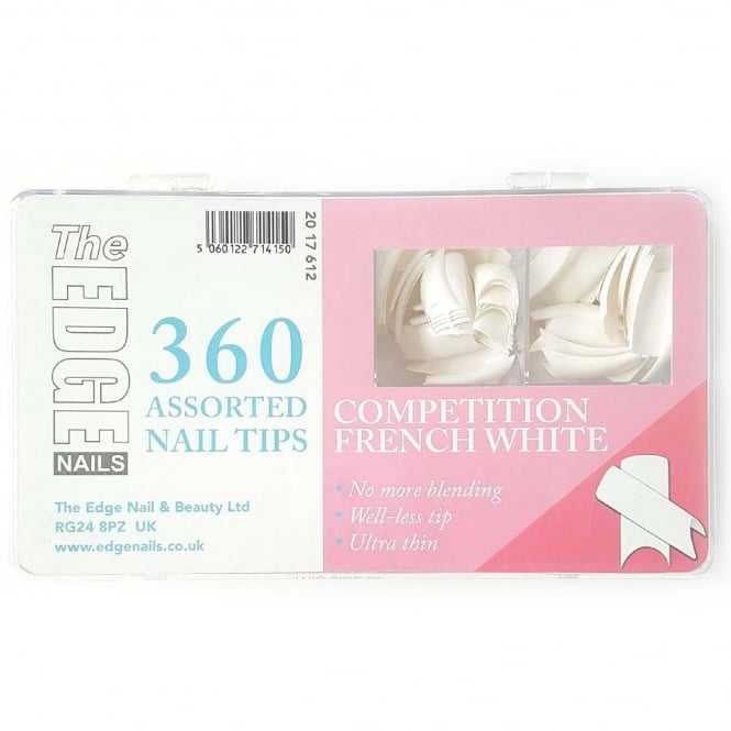 Edge Nails Assorted Nail Tips - Competition White (360 Pieces)