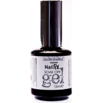 Nail FX Professional Soak Off Shimmer Gel Polish - Silver Sparkle 15ml