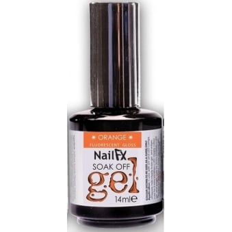 Nail FX Soak Off Fluorescent Gloss Gel Polish - Orange 15ml