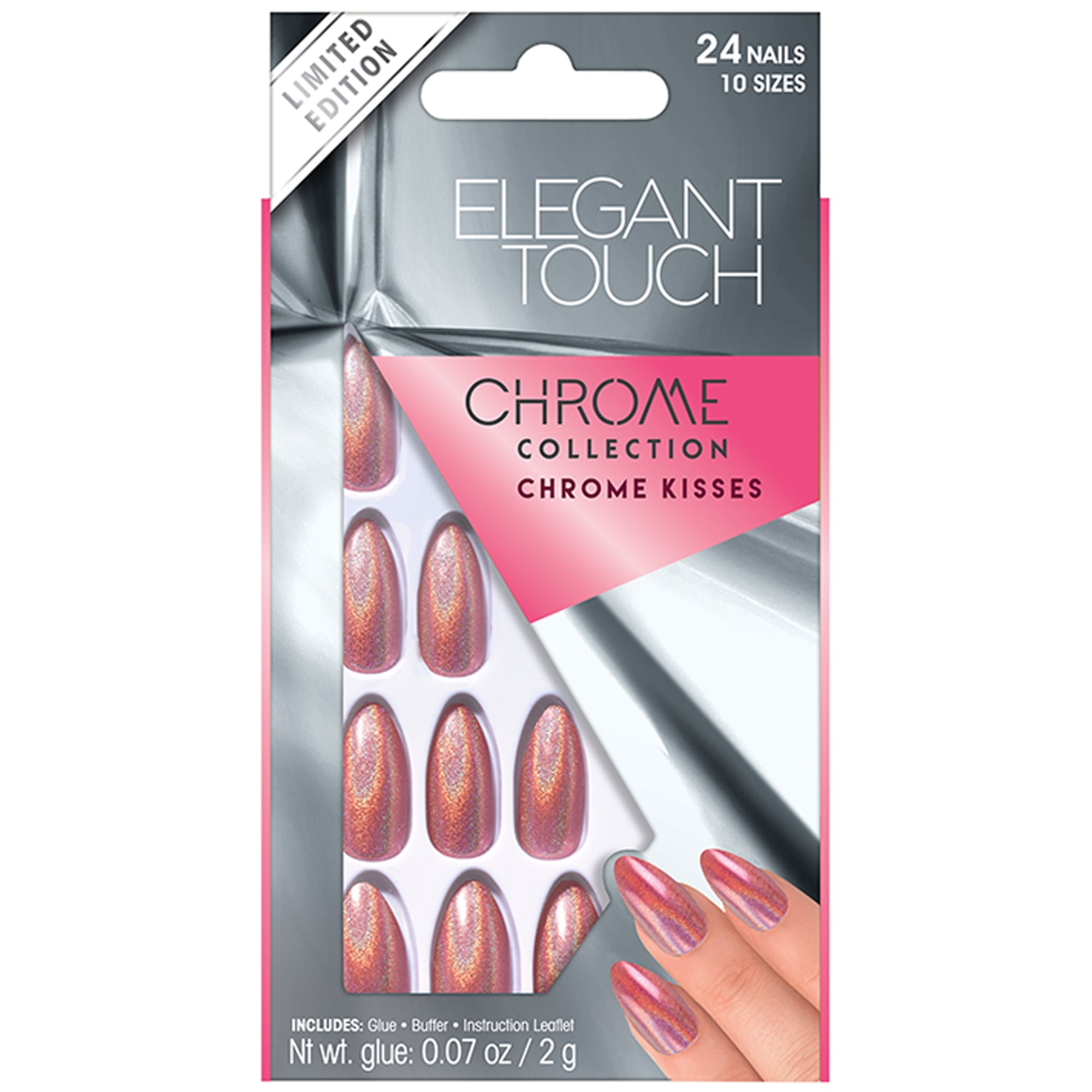 Elegant Touch Chrome Holographic False Nails - Chrome Kisses