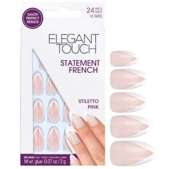 False Nails - Stiletto Pink + Glue + Buffer (24 Pack, 10 Sizes)