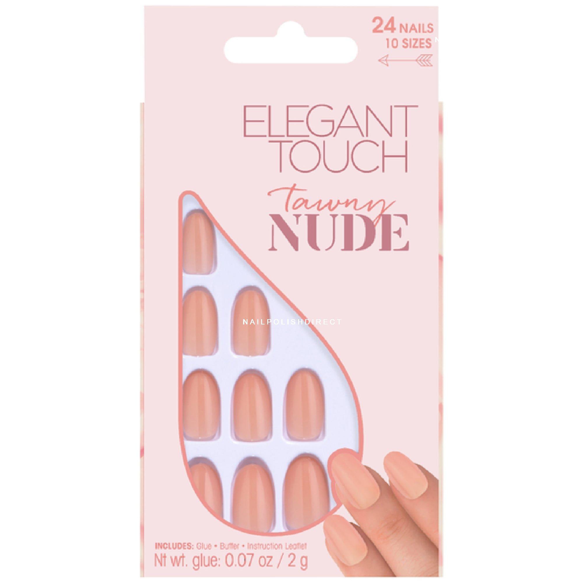 Elegant Touch False Nails - Tawny Nude + Glue + Buffer