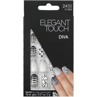 False Nails Trend Collection - Diva Black & White (24 Pack)