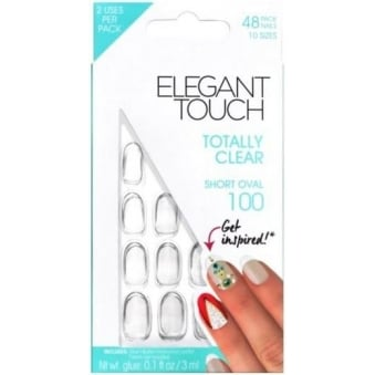False Oval Nails - Totally Clear Short Oval 100 + Glue (24 Pack)
