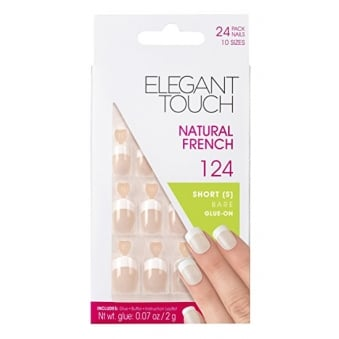 French Manicure Natural French False Nails 124 - 24 Nails With Glue In 10 Sizes