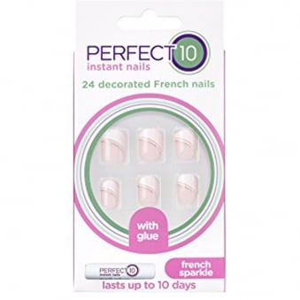 Instant Nails & Glue Decorated False Nails - French Sparkle (24 Nails)