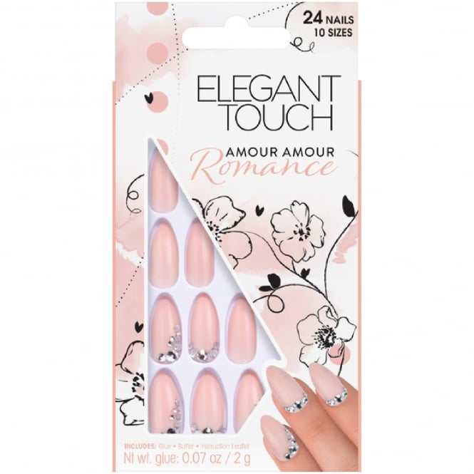 Elegant Touch False Nails - Amour Amour Romance + Glue + Buffer (24 Pack, 10 Sizes)