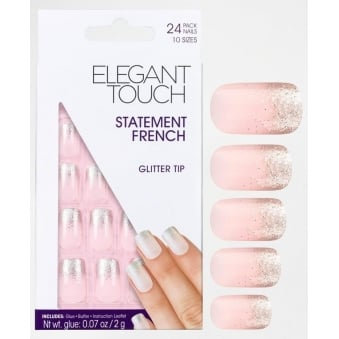 False Nails Statement French - Glitter Tips (24 Pack)