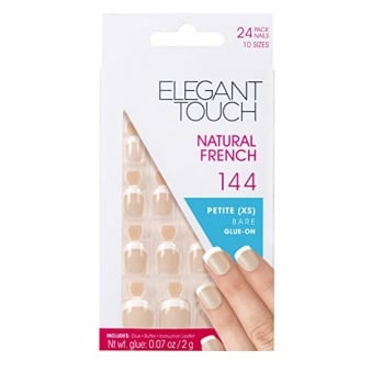 French Manicure Natural French 144 - 24 Nails With Glue In 10 Sizes