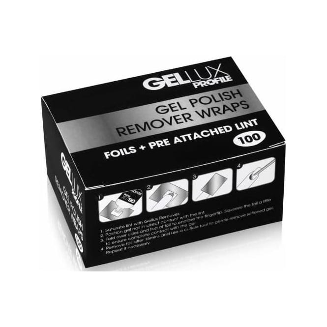 Gellux Profile Luxury Professional Gel Nail Treatments - Remover Wraps 100 Pieces (0212678)