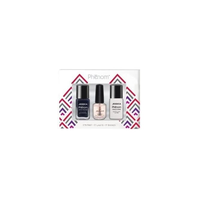 Jessica Phenom Vivid Colour Gift Sets - Blue Blooded & Finale Shine 15ml - Free Reward Basecoat 7.4ml