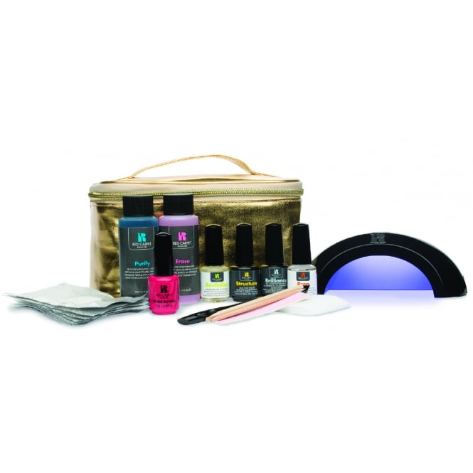 Red Carpet Manicure Gel Limited Edition Luxe Life Professional LED Starter Kit - Black Lamp & Gold Bag Set (15 Piece)