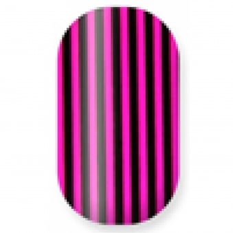 Professional Nail Wraps - Megenta & Black Stripes (22 Nails)