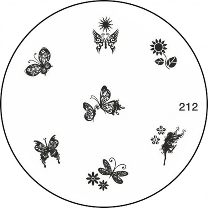 MoYou Round Stamping Nail Art Image Plate - Butterflys - 212