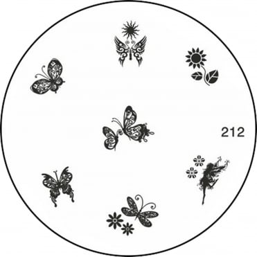 Round Stamping Nail Art Image Plate - Butterflys - 212