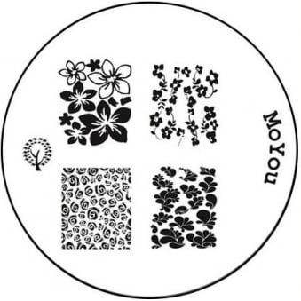 Round Stamping Nail Art Image Plate - Flowering Bed - 124