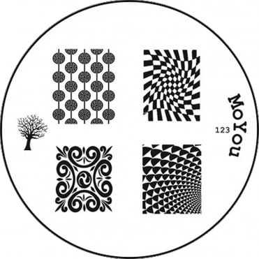 Round Stamping Nail Art Image Plate - Optical Design - 123