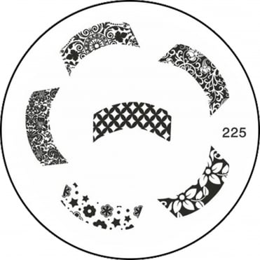 Round Stamping Nail Art Image Plate - Pattern French Tip - 225