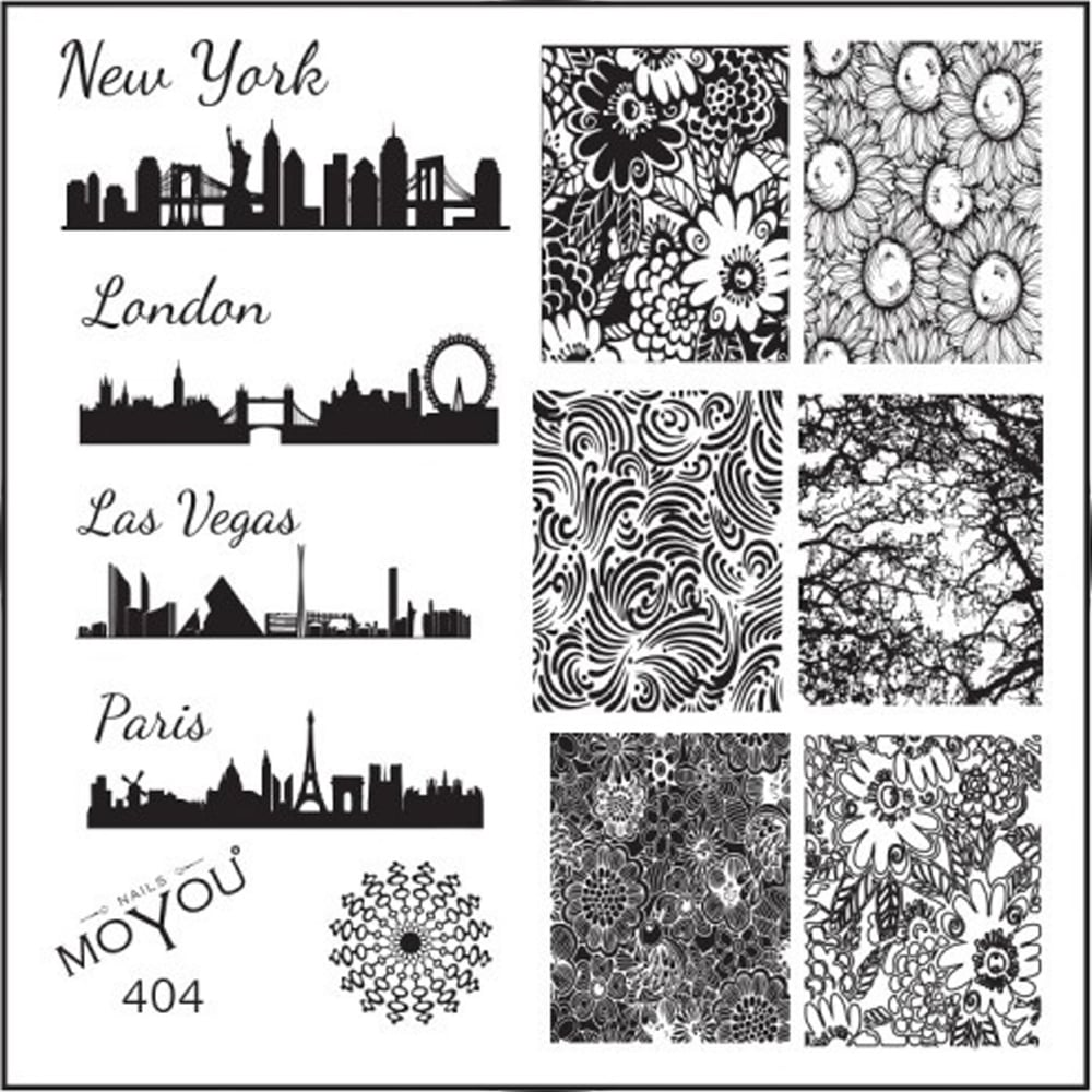 Moyou stamping nail art image plate city blueprint floral 404 malvernweather Image collections