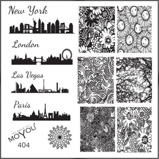 MoYou Square Stamping Nail Art Image Plate - City Blueprint & Floral Patterns - 404
