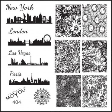 Square Stamping Nail Art Image Plate - City Blueprint & Floral Patterns - 404