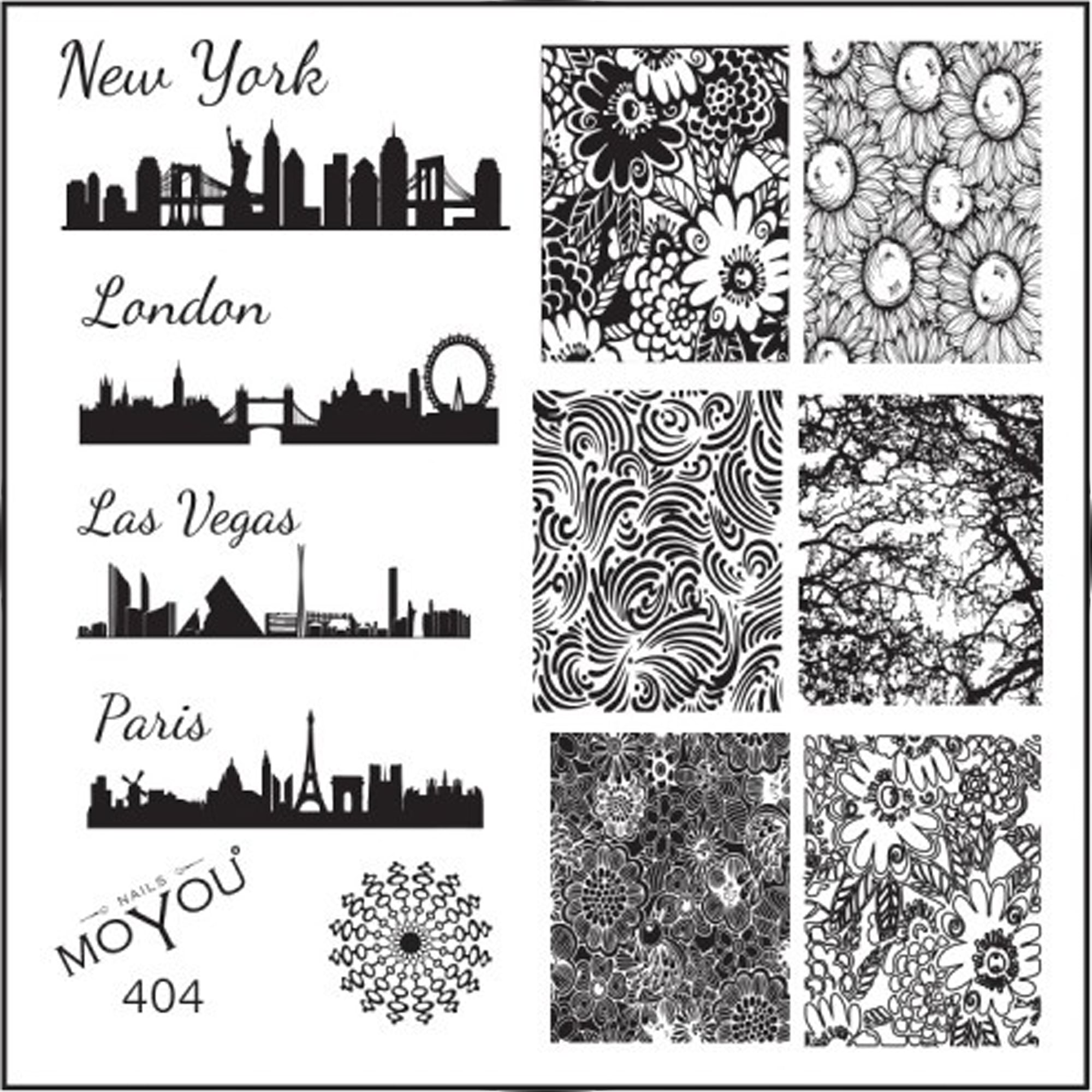 Moyou stamping nail art image plate city blueprint floral 404 square stamping nail art image plate city blueprint amp floral patterns 404 malvernweather