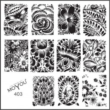 Square Stamping Nail Art Image Plate - Flower Beauty - 403