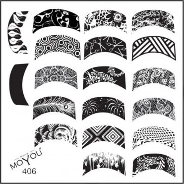 Square Stamping Nail Art Image Plate - French Manicure Designs - 406