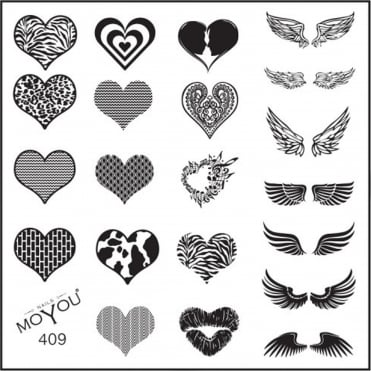 Square Stamping Nail Art Image Plate - Hearts & Wings - 409
