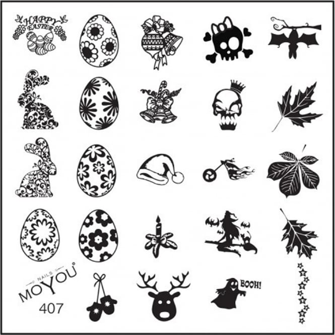 MoYou Square Stamping Nail Art Image Plate - Multi Festive - 407