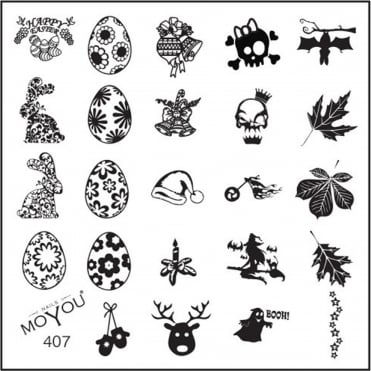 Square Stamping Nail Art Image Plate - Multi Festive - 407