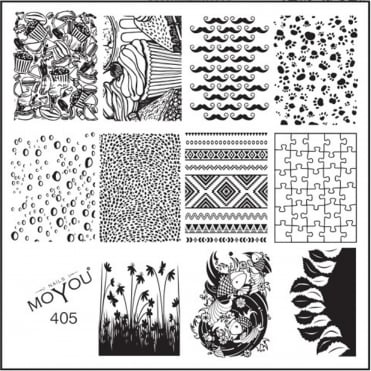 Square Stamping Nail Art Image Plate - Random & Tribal - 405