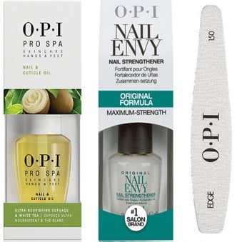 Nail Envy Original Nail Strengthener Formula & Pro Spa Cuticle Oil & 240 Nail File Trio Set (1x 15ml & 1x 14.8ml)