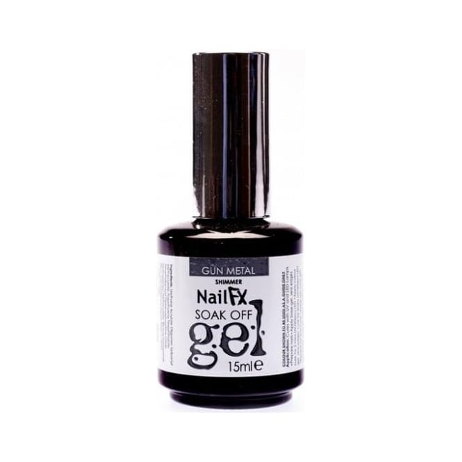 Edge Nails Nail FX Professional Soak Off Shimmer Gel Polish - Gun Metal 15ml