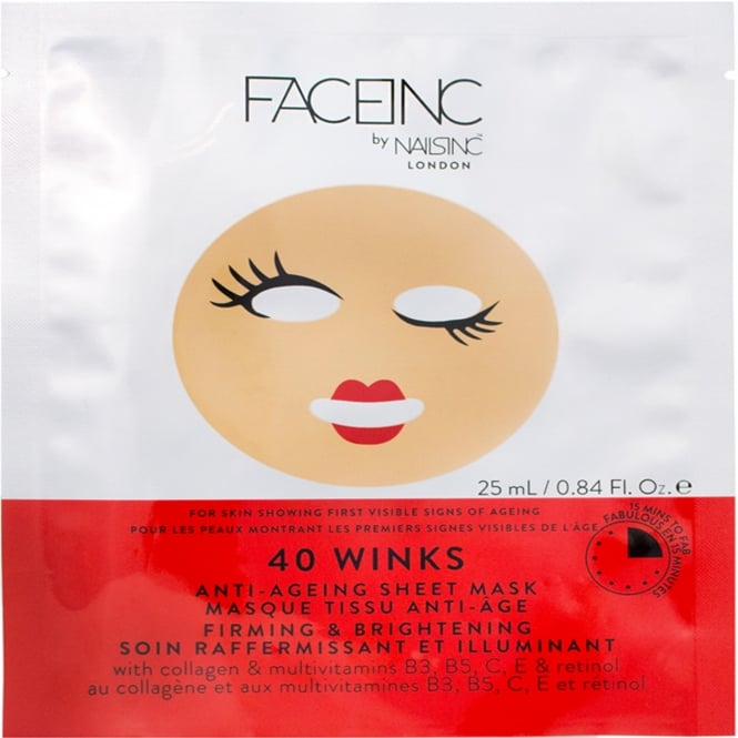 Nails inc Face Inc - Anti-Ageing Sheet Mask - 40 Winks (9122) 25ml