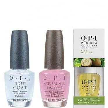 Natural Top & Base Coat - Pro Spa Cuticle Oil Set (2x 15ml & 1x 14.8ml)