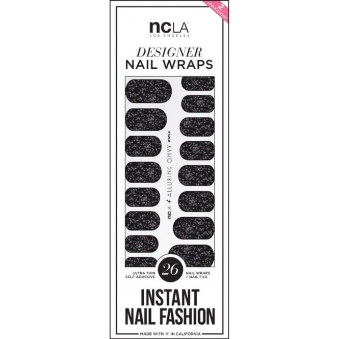 ncLA Los Angeles Instant Nail Fashion Designer Nail Wraps - Alluring Onyx Glitter (26 Wraps)
