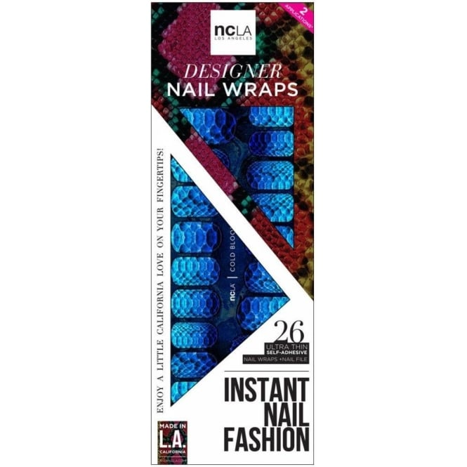 ncLA Los Angeles Instant Nail Fashion Designer Nail Wraps - Cold Blooded (26 Wraps)