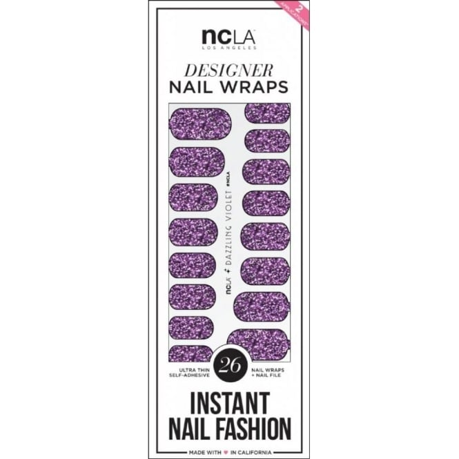ncLA Los Angeles Instant Nail Fashion Designer Nail Wraps - Dazzling Violet Glitter (26 Wraps)