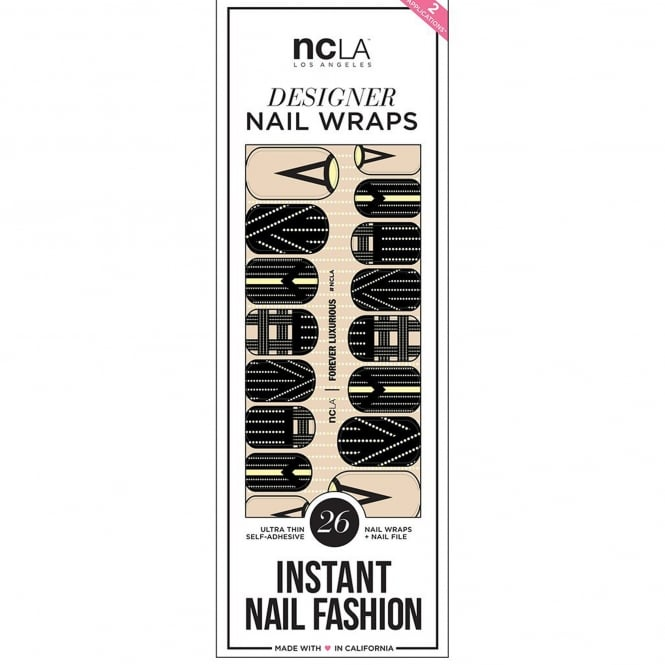 ncLA Los Angeles Instant Nail Fashion Designer Nail Wraps - Forever Luxurious (26 Wraps)