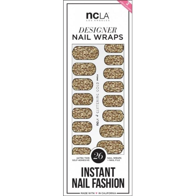 ncLA Los Angeles Instant Nail Fashion Designer Nail Wraps - Glittering Gold Glitter (26 Wraps)