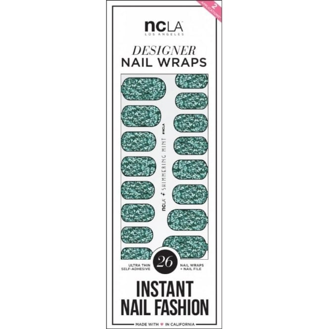 ncLA Los Angeles Instant Nail Fashion Designer Nail Wraps - Minted Glitter (26 Wraps)
