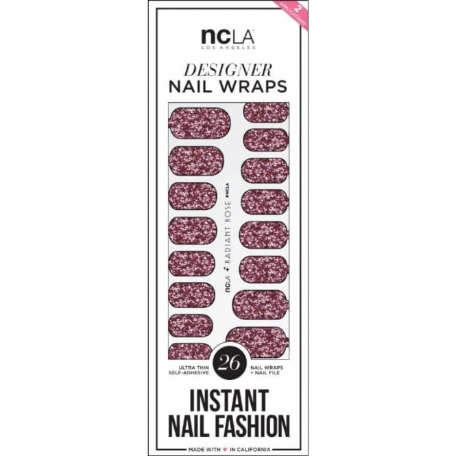 ncLA Los Angeles Instant Nail Fashion Designer Nail Wraps - Rose Radiant Glitter (26 Wraps)