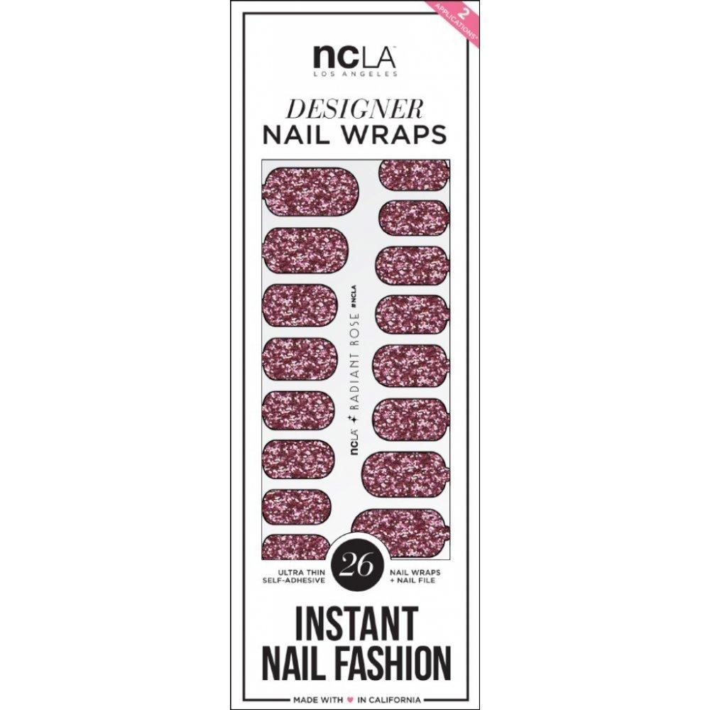Ncla Instant Nail Fashion Designer Nail Wraps Radiant Rose Glitter